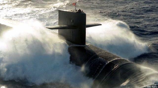An Ohio-class nuclear ballistic missile submarine
