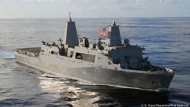 The amphibious ship USS San Antonio, LPD-17.