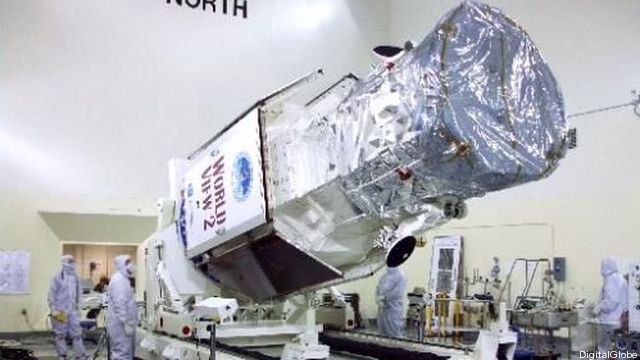 The WorldView-3 satellite being readied for launch.