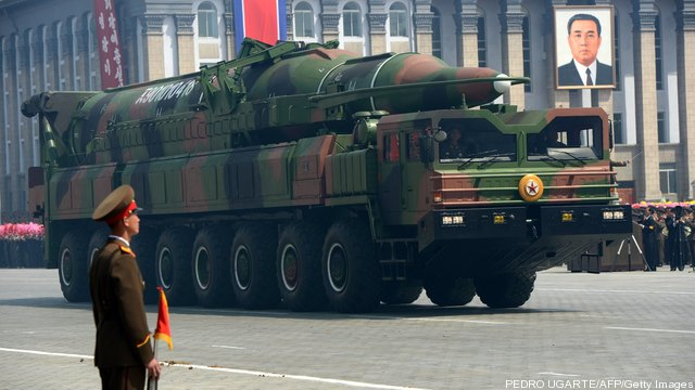 A North Korean Taepodong missile launcher on parade.