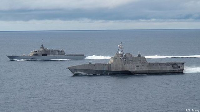 The two variants of the Navy Littoral Combat Ship -- LCS-1 Freedom and LCS-2 Independence - side by side off the California coast.