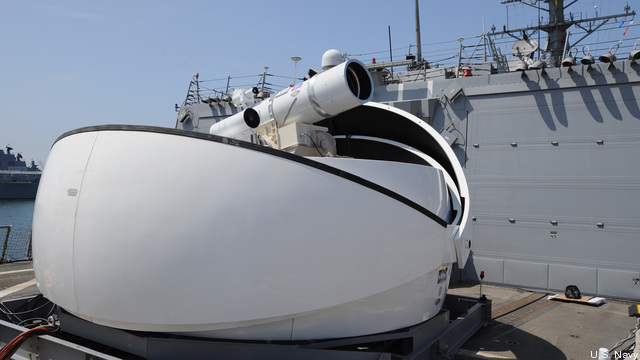 "The Navy's ""Laser Weapon System"" (LaWS) prototype aboard ship for tests off San Diego in 2012."