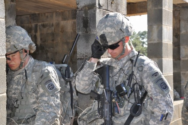 Paratroopers from 3rd Brigade Combat Team, 82nd Airborne Division, use Joint Tactical Radio System radios to communicate during a field exercise at Fort Bragg, N.C., in March.