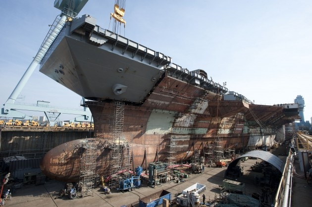 The $13 billion supercarrier USS Ford under construction in Newport News, Va.