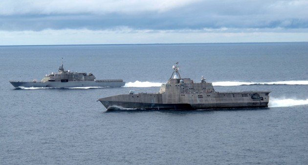 The two Littoral Combat Ship variants, LCS-1 Freedom (far) and LCS-2 Independence (near).