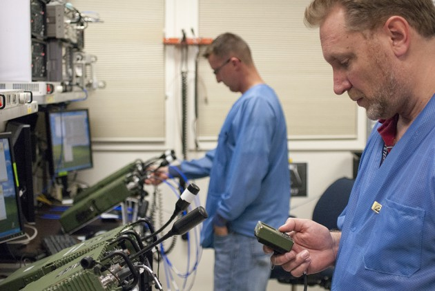 General Dynamics employees building AN/PRC-155 Manpack radios for the Army.