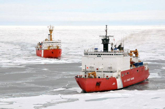 The Canadian Coast Guard Ship Louis S. St-Laurent makes an approach to the Coast Guard Cutter Healy in the Arctic Ocean Sept. 5, 2009. The two ships are taking part in a multi-year, multi-agency Arctic survey that will help define the Arctic continental shelf. U.S. Coast Guard photo by Petty Officer Patrick Kelley.