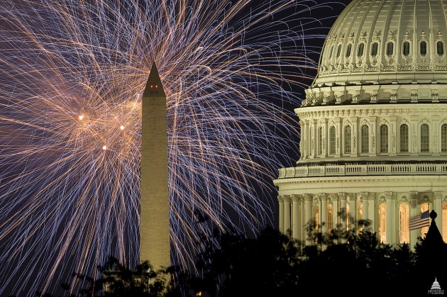 Fireworks over the US Capitol Dome in Washington, DC.