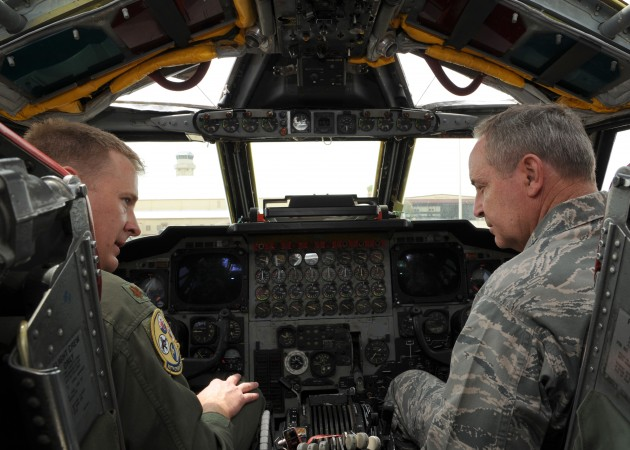 Air Force Chief of Staff Gen. Mark Welsh (right) in the cockpit of an aging B-52 bomber.