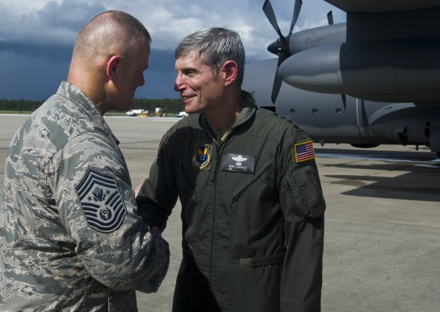 Gen. Norton Schwartz after his final flight as an active Air Force officer.