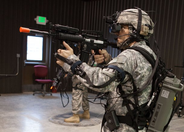 Capt. Marcus Long, 157th Infantry Brigade operations officer, First Army Division East, takes advantage of the Dismounted Soldier Training System. The helmet-mounted display provides a realistic virtual training platform programmable for any theater [ http://www.army.mil/article/97582/ ]