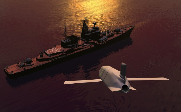 An artist's depiction of a Lockheed Martin LRASM (Long-Range Anti-Ship Missile) hurtling towards its target.