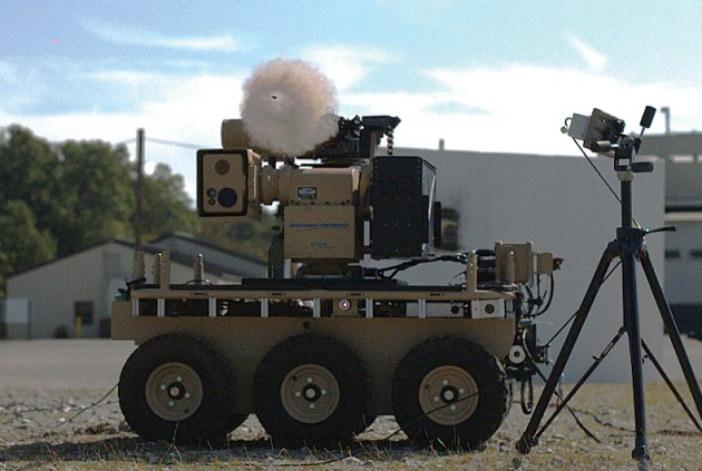 Northrop Grumman's MADDS armed robot (based on an earlier unarmed 'bot called CaMEL) captured in the act of firing.