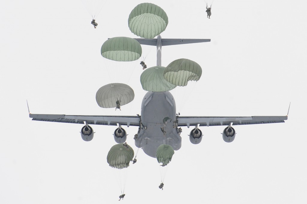 An Army airborne exercise at Joint Base Elmendorf-Richardson in Alaska.
