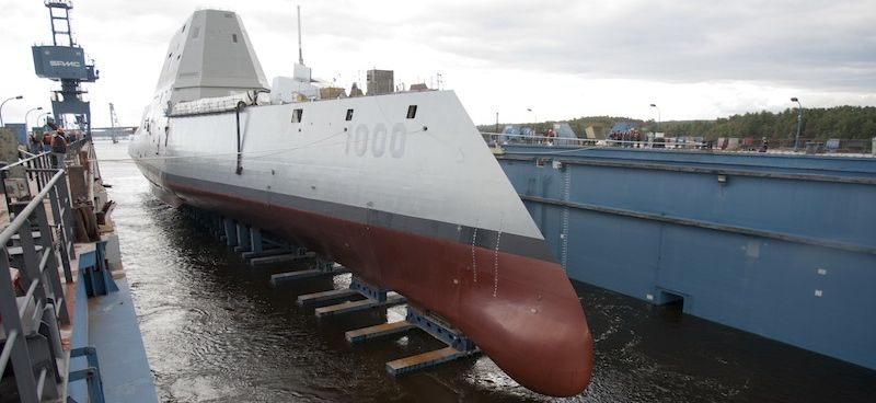The USS Zumwalt in the drydock at Bath Iron Works in Maine.
