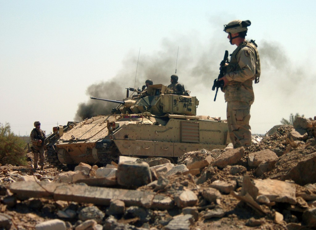 The Army won't ne able to replace its '80s-vintage M2 Bradleys, like the one show here in Iraq, for a long time to come.