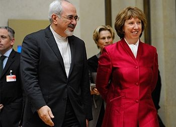 EU Rep Cahterine Ashton with Iranian Foreign Minister Javad Zarif