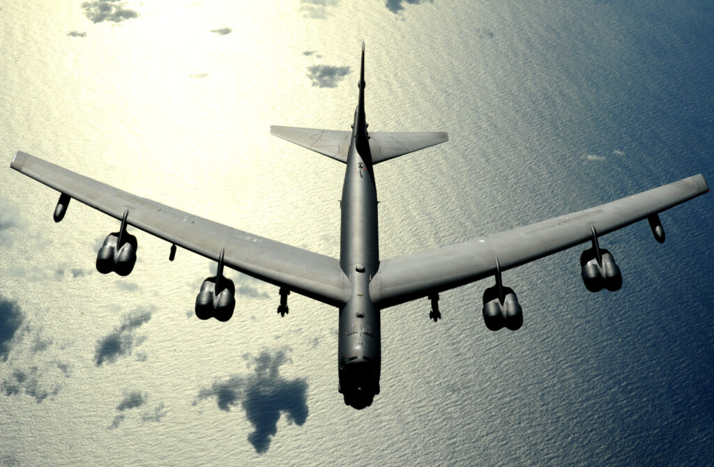 A US Air Force B-52 flies over the Pacific on a flight out of Guam. Bombers like this one challenged the Chinese air defense one earlier today.