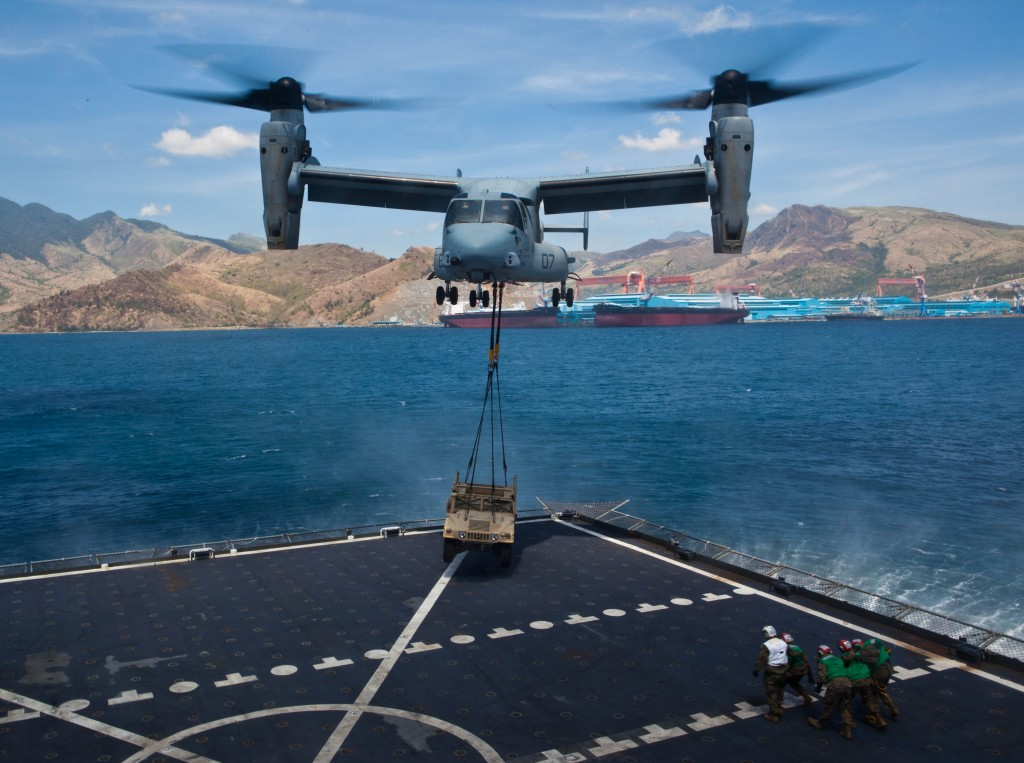V-22 operates at Subic Bay, Philippines, during exercise Freedom Banner 2013.