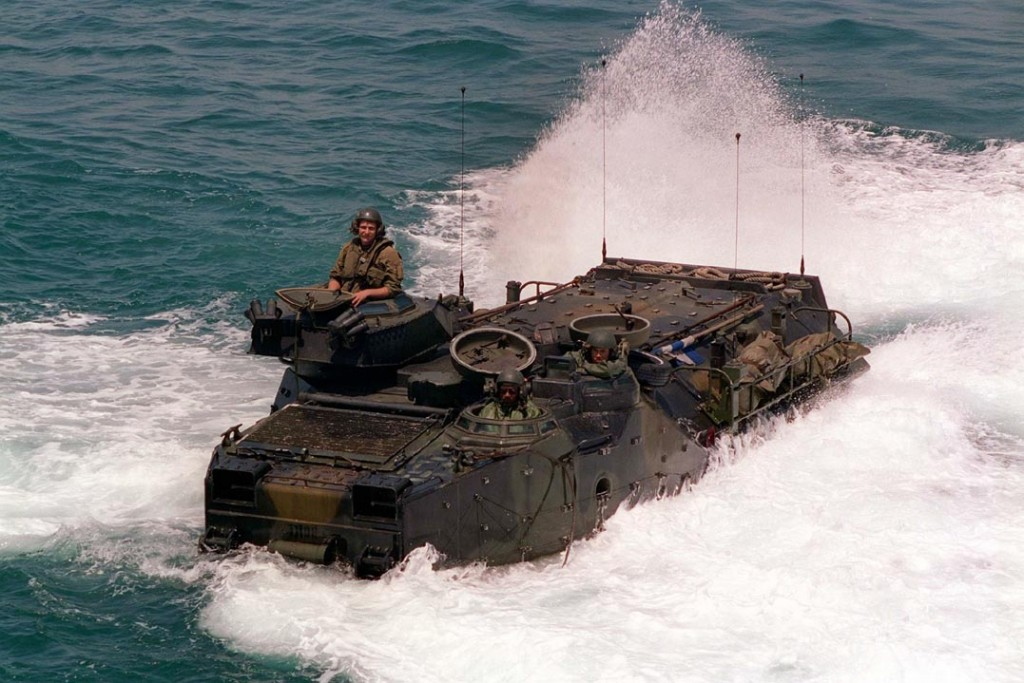 The Marine Corps's current Amphibious Assault Vehicle, the 1970s-vintage AAV-7.