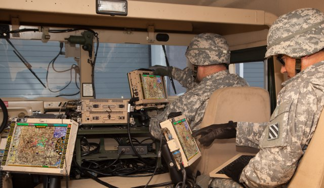 Army vehicle full of network computers