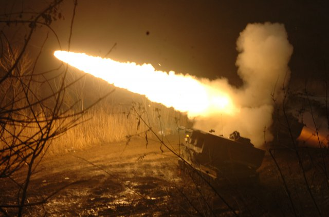 Army MLRS rocket artillery firing in Korea exercise