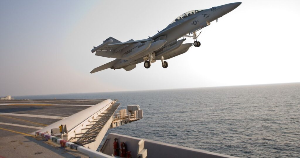 The Navy's new EA-18G Growler electronic warfare aircraft during sea trials.