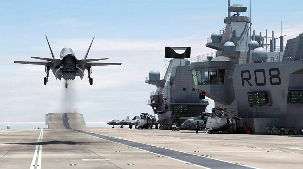 A computer-generated image of a Royal Navy F-35B taking off vertically from the new carrier HMS Queen Elizabeth, which will be commissioned July 4th.