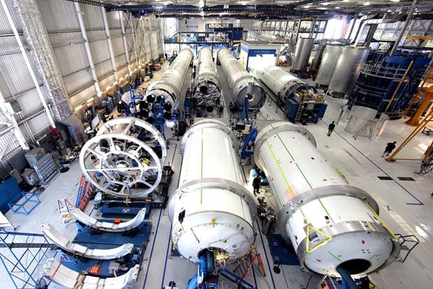 SpaceX Falcon 9 rockets in production.