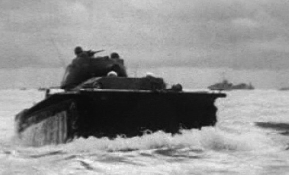 Amtank landing at Peleliu on D-Day