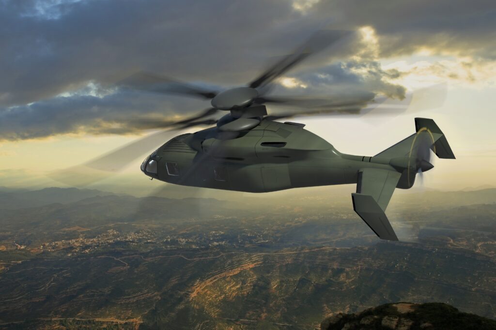 The Sikorsky-Boeing SB-1 Defiant concept for the Joint Multi-Role demonstrator, a predecessor to the Future Vertical Lift aircraft.