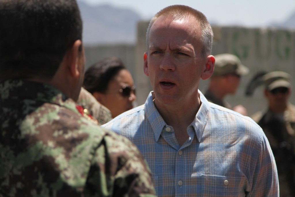 Brad Carson, Under Secretary of the Army, talks to solders in Afghanistan.