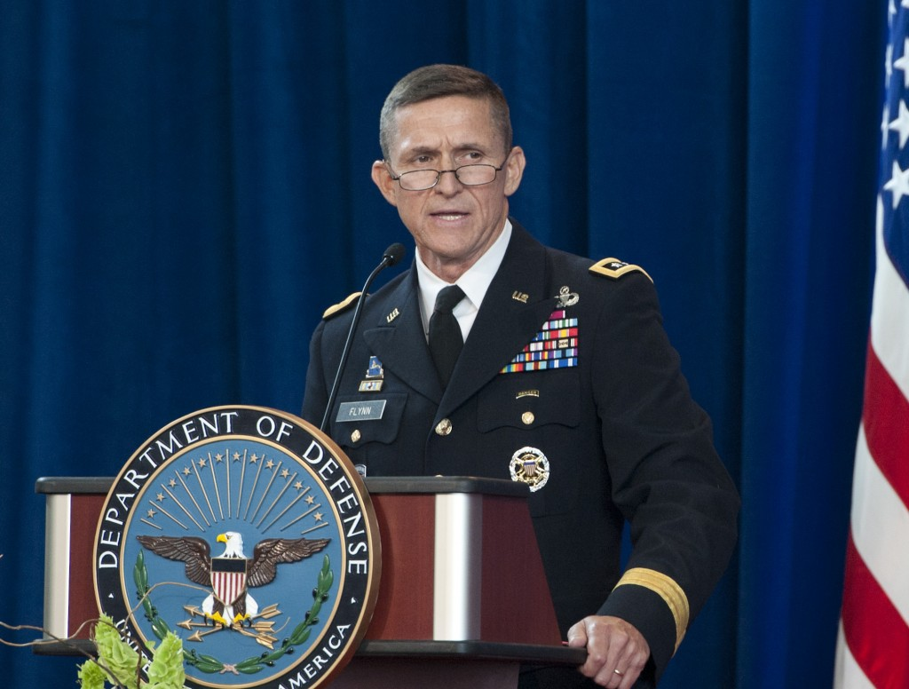 Lt. Gen. Michael Flynn in happier days, taking command of the Defense Intelligence Agency just two years ago.