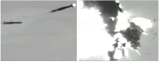 A Navy SM-6 interceptor missile destroys a simulated cruise missile in an Aug. 18 test.
