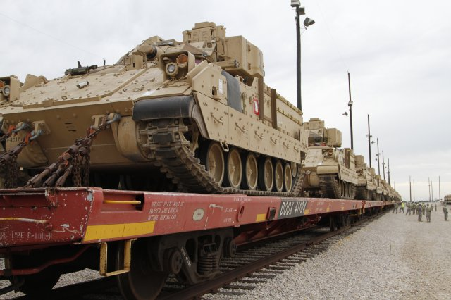 Bradley armored vehicles from the 1st Cavalry Division shipped out in August for a deployment to Eastern Europe.