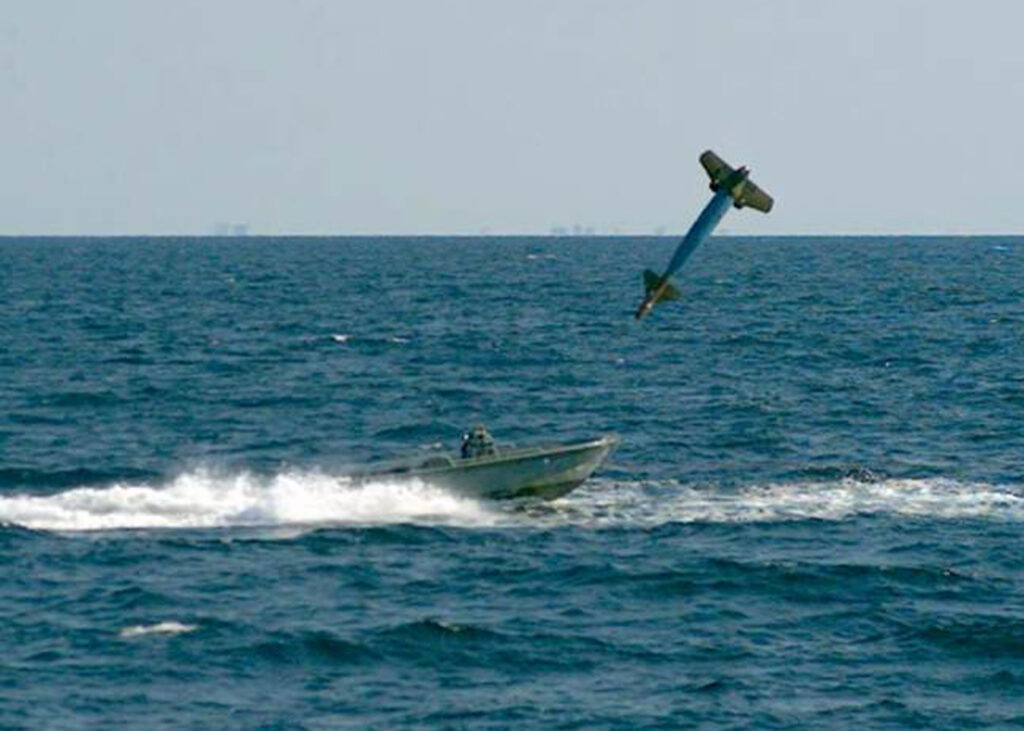 An Air Force test of anti-small-boat weapon.