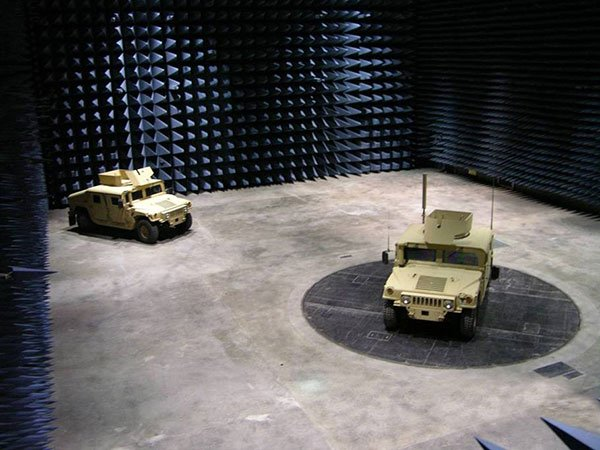 Inside an Army electronic warfare testing facility at White Sands.