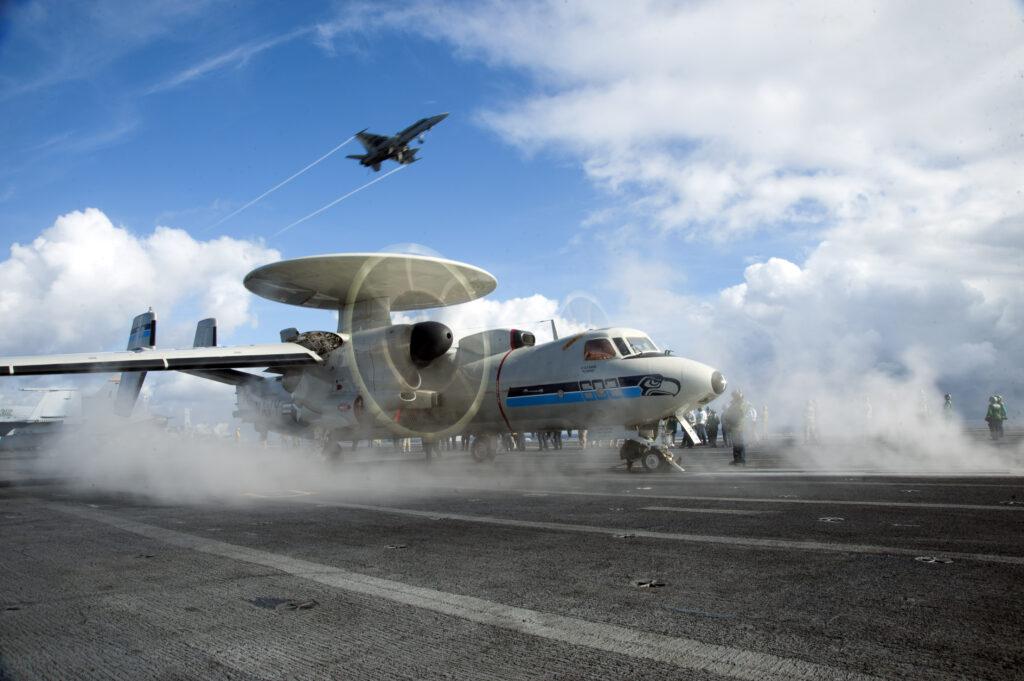 E-2C Hawkeye aboard ship.
