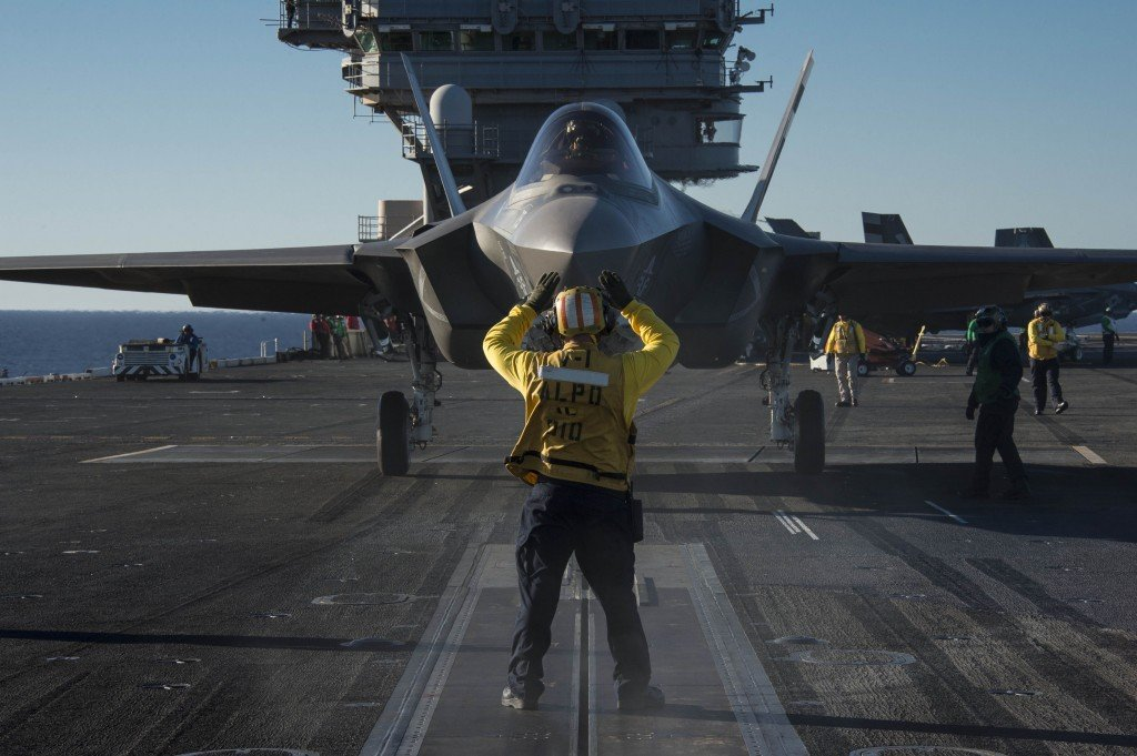 F-35C Joint Strike Fighter conducts its first launch from an aircraft carrier.