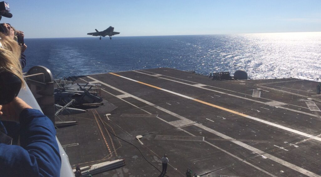 F-35C on approach to USS Nimitz