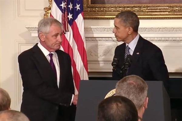 Hagel resignation handshake