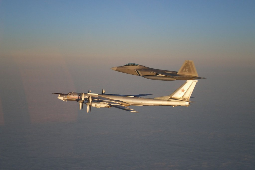 A Russian Tu-95 Bear bomber being escorted away from US airspace by an F-22 in a 2007 incident.