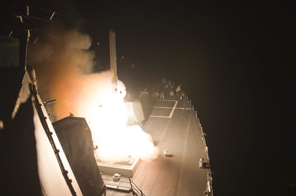 Tomahawk cruise missile launch against the Khorasan group in Syria