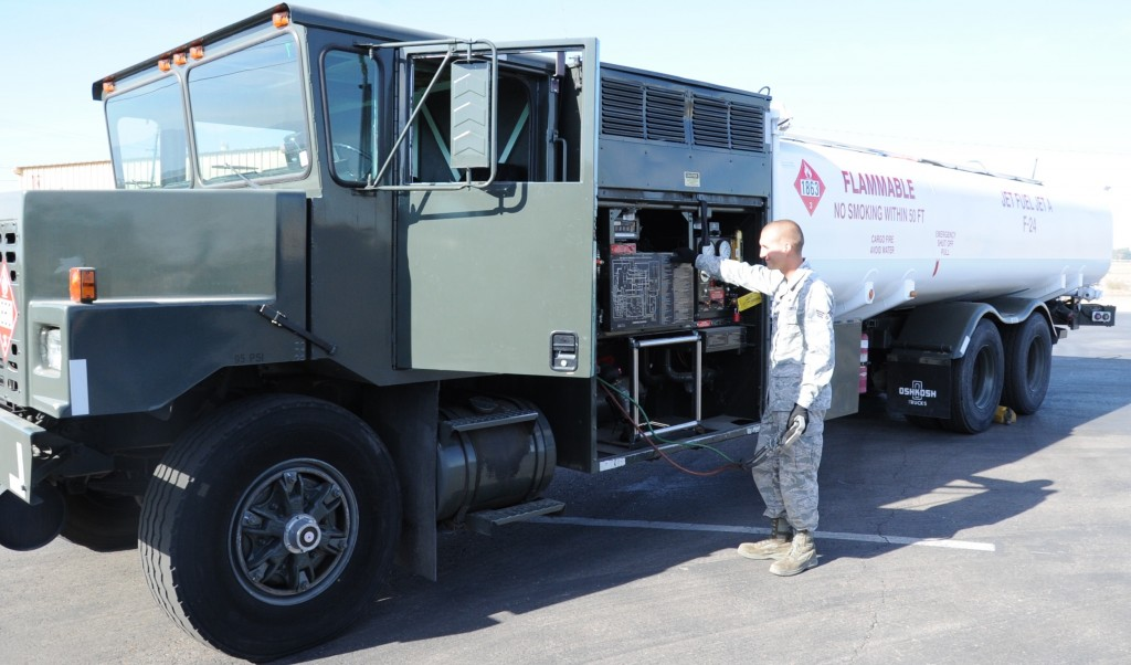 White fuel truck at Luke Air Force Base