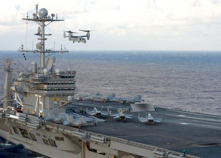 V-22 landing on an aircraft carrier.