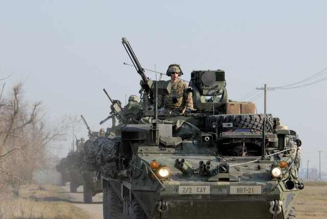 Styrker-armored vehicles, from 2nd Squadron, 2nd Cavalry Regiment, arrive at Smardan Training Area, Romania, March 24, 2015. Saber Junction 15 includes 5,000 troops from 17 NATO allied and partner nations. http://www.army.mil/article/145053/Army_Europe_expands_Operation_Atlantic_Resolve_training_to_Romania__Bulgaria/