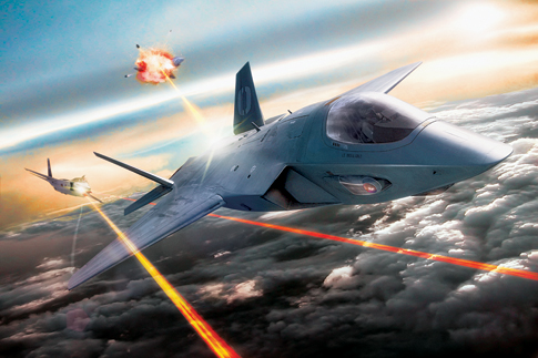 Air Force artwork of a future dogfight with lasers.