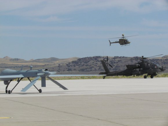 AH-64E with Gray eagle