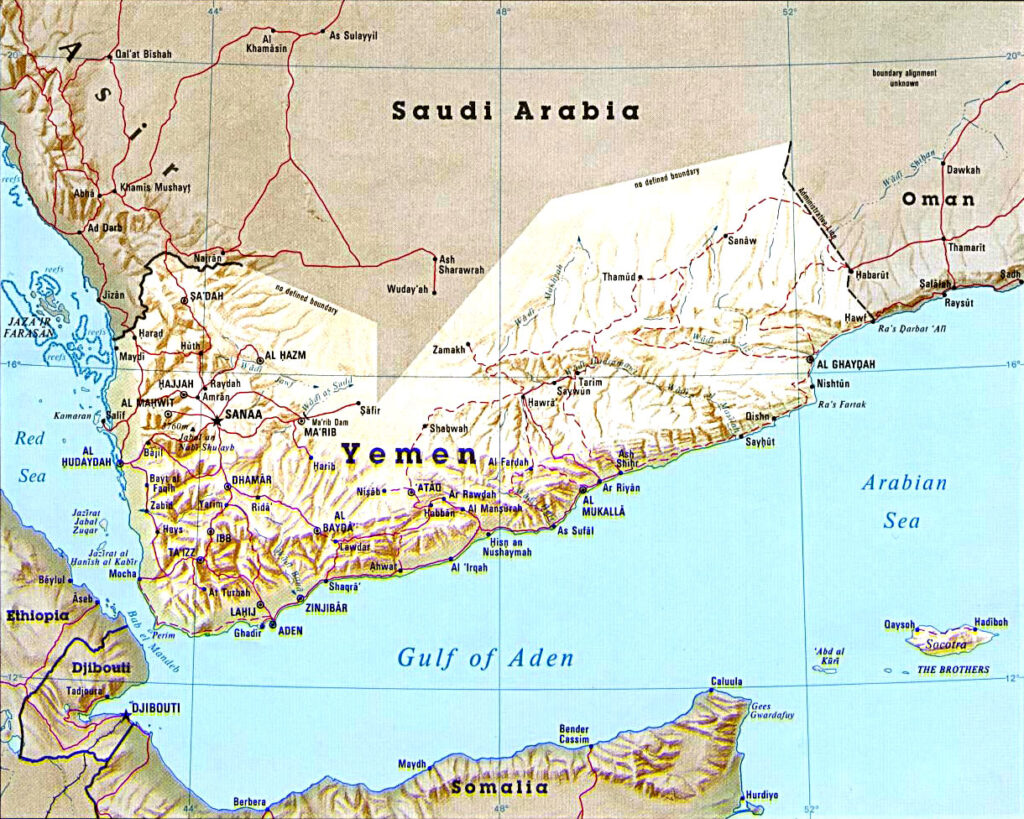 Map of Djibouti and surrounding area