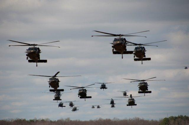 Black Hawk helicopters in formation